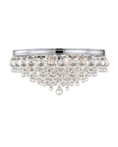 Six Light Crystal Teardrop Chrome Ceiling Mount
