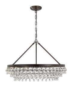 Six Light Crystal Teardrop Bronze Chandelier