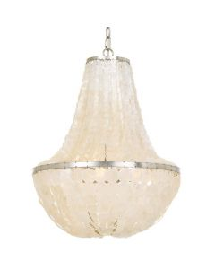 Six Light Antique Silver and Shell Chandelier