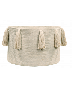 Washable Natural Beige Tassel Braided Storage Basket  - OUT OF STOCK