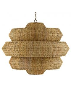 Large Woven Rattan Geometric Chandelier