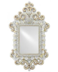 Hand Applied Natural Shell Wall Mirror With White Frame
