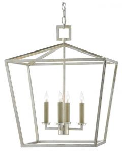 Medium Lantern in Contemporary Silver Leaf Finish