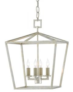 Small Lantern in Contemporary Silver Leaf Finish