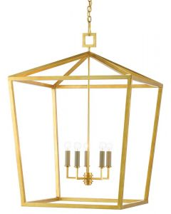 Large 4 Light Wrought Iron Gold Leaf Lantern