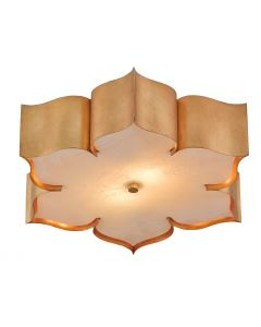 Lotus Flower Flush Ceiling Mount in Antique Gold Leaf Finish