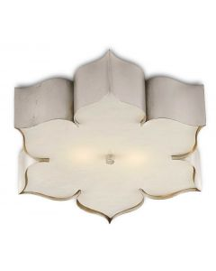 Lotus Flower Flush Ceiling Mount in Silver Leaf