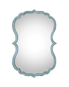 Curved Vanity MIrror with Antiqued Blue and Bronze Frame