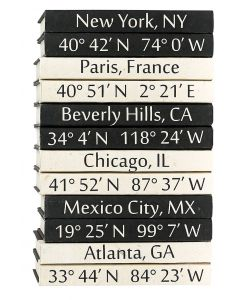 Set of 2 Custom Coordinates Decorative Books - Available in Black or Cream