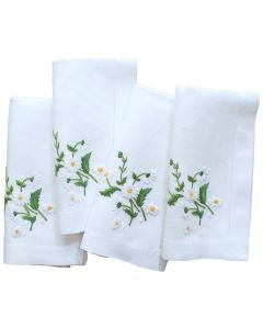 Set of 4 Embroidered Daisy Dinner Napkins