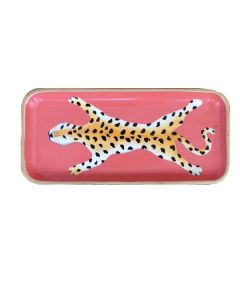 Leopard Tole Tray in Orange