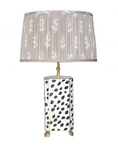 Dana Gibson Black Fleck Lamp with Pleated Taupe Sprig Shade
