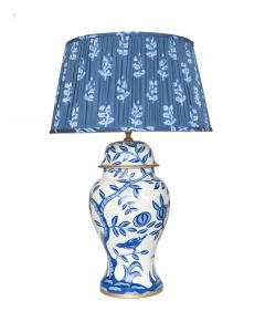 Dana Gibson Blue Cliveden Lamp with Custom Pleated Sprig Shade