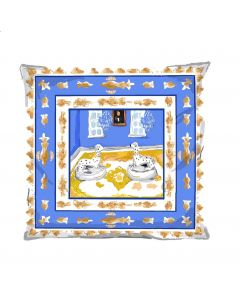 Blue Square Dog Decorative Pillow
