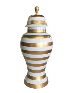 Small Gold and White Striped Ginger Jar