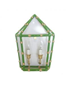Green Bamboo Two Light Wall Sconce