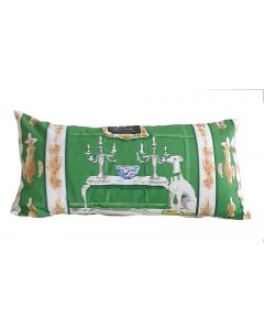 Green Dog Lumbar Decorative Pillow