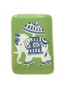 Hand Painted Tole Green Elephant Decorative Tray