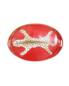 Leopard Oval Decorative Serving Tray in Orange