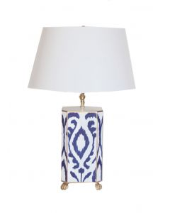 Navy Ikat Tole Table Lamp with Shade