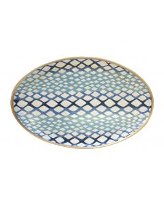 Oval Python Decorative Tray in Blue