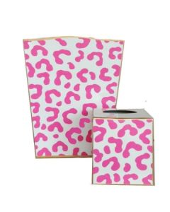 Dana Gibson Pink Leopard Print Ocelot Wastebasket with Optional Tissue Box Cover