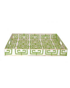 Rectangle Serving Tray with a Green Fret Design