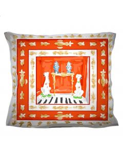Red Square Dog Decorative Pillow