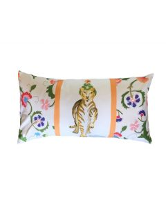 Tiger with Floral Lumbar Decorative Pillow