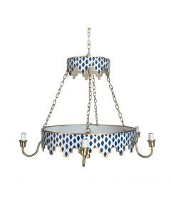 Two Tiered Navy Parsi Chandelier