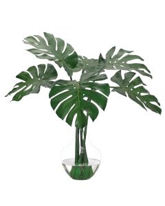 Decorative Faux Monstera Leaf in Glass Vase