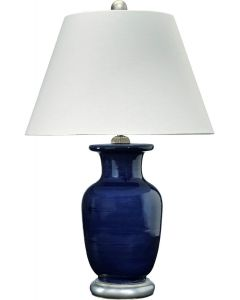 Deep Blue Ceramic Table Lamp with Angular White Shade and Silver Accents