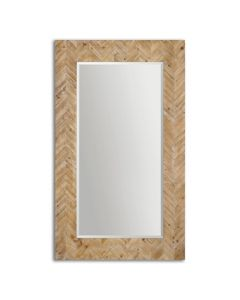 Chevron Patterned Beveled Mirror with Solid Wood Frame in Light Gray Glaze