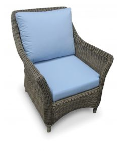 Conservatory Outdoor Wicker Inspired Arm Chair in Weathered Gray - Variety of Cushions Options