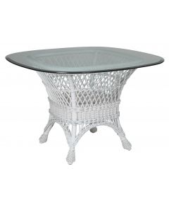 Harbor Front Wicker Dining Table with Glass Top – Available in a Variety of Finishes