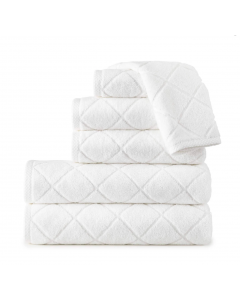 Diamond Design Terry Plush Cotton Bath Towel Collection With Patterned Trim - Available in 3 Colors