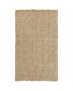 Diamonds Design Jute Reeds Rug in Tan and Cream