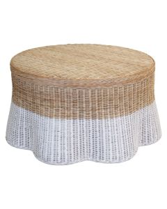 Dipped Scalloped Round Wicker Coffee Table - Available in Variety of Finishes