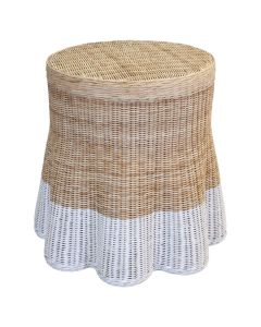 Dipped Scalloped Round Wicker Drink Table - Available in Variety of Finishes