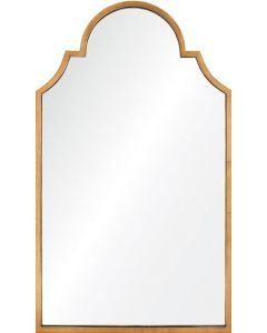 Distressed Gold Leaf Wall Mirror with Scalloped Top