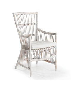 Distressed White Open Weave Rattan Armchair