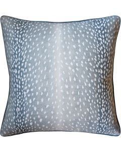 Doe Animal Print Linen Square Decorative Pillow in Aqua– Available in Two Sizes