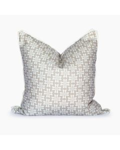 Dogwood Floral Linen Square Throw Pillow in Linen