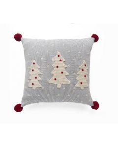 Grey and Ecru Christmas Tree Holiday Throw Pillow With Dots and Red Pom Poms
