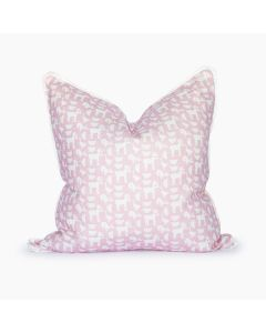 Down By the Bay Square Pillow in Pink and White