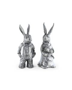 Dressed Rabbits Pewter Salt and Pepper Set - Easter Decor