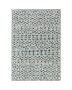 5x7 Diamond and Dot Design Rug in Aqua and Light Grey