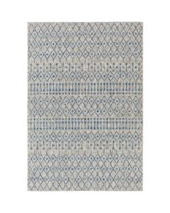 Diamond and Dot Design Rug in Blue and Light Grey