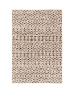 5x7 Diamond and Dot Design Rug in Dark Brown and Camel