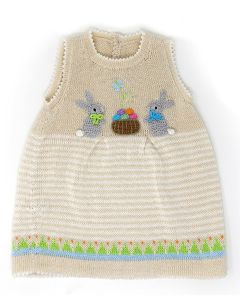 Girl's Knit Easter Dress with Bunnies